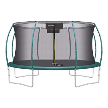 Ultrasport Unisex– Erwachsene 430 Gartentrampolin mit 430 cm Durchmesser, belastbar bis 150 kg, großes Outdoor Trampolin mit viel Platz und vielen Sicherheitsmerkmalen, Grün, 430cm (XL) - 1