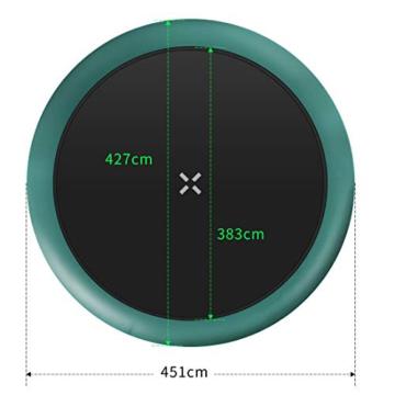 Ultrasport Unisex– Erwachsene 430 Gartentrampolin mit 430 cm Durchmesser, belastbar bis 150 kg, großes Outdoor Trampolin mit viel Platz und vielen Sicherheitsmerkmalen, Grün, 430cm (XL) - 6
