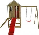 Wendi Toys Kinderspielhaus Alpaka Spielturm Stelzenhaus Baumhaus Holzhaus mit Sandkasten Veranda Schaukel und Rutsche - 1