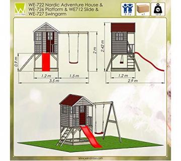 Wendi Toys Kinderspielhaus Alpaka Spielturm Stelzenhaus Baumhaus Holzhaus mit Sandkasten Veranda Schaukel und Rutsche - 7