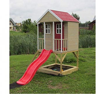 Wendi Toys Kinderspielhaus Frosch Spielturm inkl. Veranda & Rutsche - 3