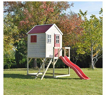 Wendi Toys Kinderspielhaus Tiger Spielturm inkl. Veranda & Rutsche - 2