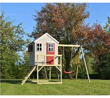 Wendi Toys Kinderspielhaus Zebra Spielturm inkl. Veranda und Schaukelgerüst - 2