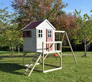 Wendi Toys Kinderspielhaus Zebra Spielturm inkl. Veranda und Schaukelgerüst - 4