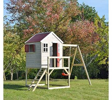 Wendi Toys Kinderspielhaus Zebra Spielturm inkl. Veranda und Schaukelgerüst - 5