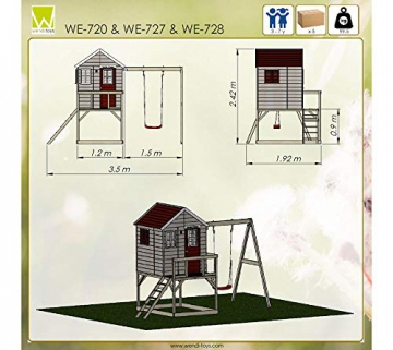 Wendi Toys Kinderspielhaus Zebra Spielturm inkl. Veranda und Schaukelgerüst - 8
