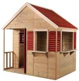 Wendi Toys M12 Summer Villa House WE-732| Rot Kinder Spiel Haus mit voller Tür, Fenster, Jalousien, Veranda, Spielzeug Regal, Fensterläden| Holz Garten Spielhaus - 1
