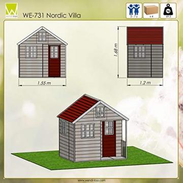 Wendi Toys M13 Nordic Villa House WE-731 | Geschlossenes Spielhaus mit voller Tür, Fenster, Plexiglasfenster, Spielzeugablage, Giebelfenster - 6