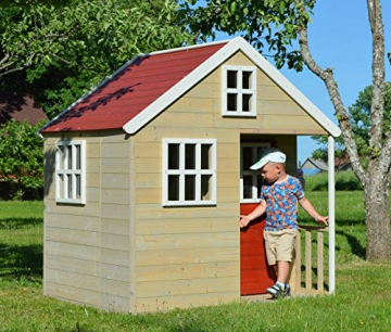 Wendi Toys M13 Nordic Villa House WE-731 | Geschlossenes Spielhaus mit voller Tür, Fenster, Plexiglasfenster, Spielzeugablage, Giebelfenster - 7
