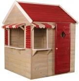 Wendi Toys M16 Beach Shop House WE-724| Rot Offenes Kinder Garten Holz Spielhaus mit Fenstern, voller Tür, Jalousien, Markisen - 1