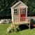 Wendi Toys M4 Nordic Garden House WE-703 + WE-705 + WE-711  Kinderspielhaus auf Plattform mit Rutsche 118 cm  Kinder Holz Spielhaus Gartenhaus mit Fenstern, Leiter, Rutsche, Volltür - 2