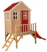 Wendi Toys M4 Nordic Garden House WE-703 + WE-705 + WE-711| Kinderspielhaus auf Plattform mit Rutsche 118 cm| Kinder Holz Spielhaus Gartenhaus mit Fenstern, Leiter, Rutsche, Volltür - 1