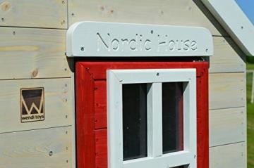 Wendi Toys M4 Nordic Garden House WE-703 + WE-705 + WE-711  Kinderspielhaus auf Plattform mit Rutsche 118 cm  Kinder Holz Spielhaus Gartenhaus mit Fenstern, Leiter, Rutsche, Volltür - 3