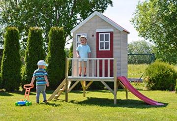 Wendi Toys M4 Nordic Garden House WE-703 + WE-705 + WE-711  Kinderspielhaus auf Plattform mit Rutsche 118 cm  Kinder Holz Spielhaus Gartenhaus mit Fenstern, Leiter, Rutsche, Volltür - 4