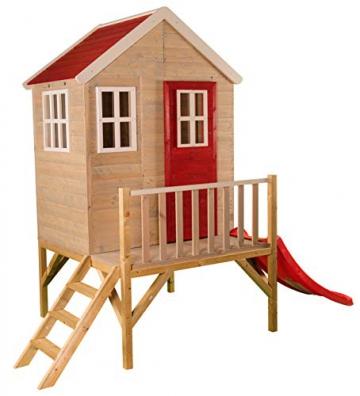 Wendi Toys M4 Nordic Garden House WE-703 + WE-705 + WE-711  Kinderspielhaus auf Plattform mit Rutsche 118 cm  Kinder Holz Spielhaus Gartenhaus mit Fenstern, Leiter, Rutsche, Volltür - 1