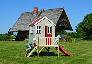 Wendi Toys M4 Nordic Garden House WE-703 + WE-705 + WE-711  Kinderspielhaus auf Plattform mit Rutsche 118 cm  Kinder Holz Spielhaus Gartenhaus mit Fenstern, Leiter, Rutsche, Volltür - 5