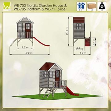 Wendi Toys M4 Nordic Garden House WE-703 + WE-705 + WE-711  Kinderspielhaus auf Plattform mit Rutsche 118 cm  Kinder Holz Spielhaus Gartenhaus mit Fenstern, Leiter, Rutsche, Volltür - 6