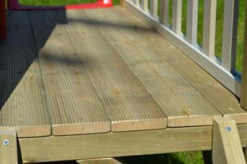 Wendi Toys M4 Nordic Garden House WE-703 + WE-705 + WE-711  Kinderspielhaus auf Plattform mit Rutsche 118 cm  Kinder Holz Spielhaus Gartenhaus mit Fenstern, Leiter, Rutsche, Volltür - 8