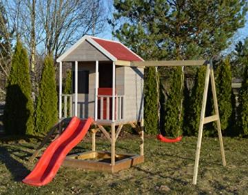 Wendi Toys M9 Summer Adventure House & Plattform & Rutsche   Kinderspielhaus aus Holz auf 90 cm Plattform mit Schaukeln Holzhaus Garten Spielhaus mit Veranda Rutsche, Schaukel, Tafel, Sandkasten - 2