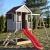 Wendi Toys M9 Summer Adventure House & Plattform & Rutsche   Kinderspielhaus aus Holz auf 90 cm Plattform mit Schaukeln Holzhaus Garten Spielhaus mit Veranda Rutsche, Schaukel, Tafel, Sandkasten - 3
