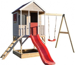 Wendi Toys M9 Summer Adventure House & Plattform & Rutsche | Kinderspielhaus aus Holz auf 90 cm Plattform mit Schaukeln Holzhaus Garten Spielhaus mit Veranda Rutsche, Schaukel, Tafel, Sandkasten - 1
