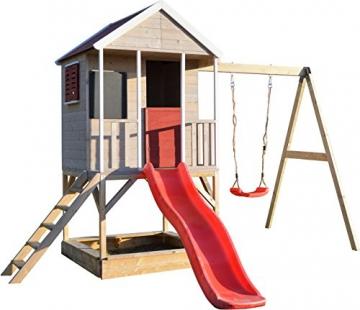 Wendi Toys M9 Summer Adventure House & Plattform & Rutsche   Kinderspielhaus aus Holz auf 90 cm Plattform mit Schaukeln Holzhaus Garten Spielhaus mit Veranda Rutsche, Schaukel, Tafel, Sandkasten - 1