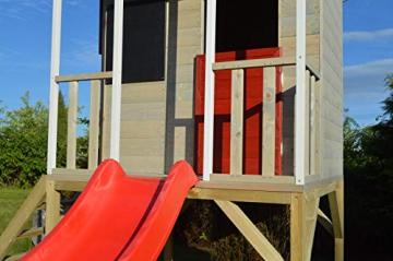 Wendi Toys M9 Summer Adventure House & Plattform & Rutsche   Kinderspielhaus aus Holz auf 90 cm Plattform mit Schaukeln Holzhaus Garten Spielhaus mit Veranda Rutsche, Schaukel, Tafel, Sandkasten - 5