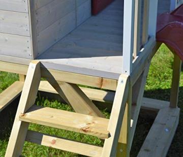 Wendi Toys M9 Summer Adventure House & Plattform & Rutsche   Kinderspielhaus aus Holz auf 90 cm Plattform mit Schaukeln Holzhaus Garten Spielhaus mit Veranda Rutsche, Schaukel, Tafel, Sandkasten - 7