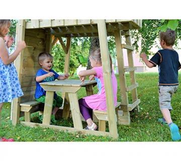 Wendi Toys Spielturm Flamingo Stelzenhaus Kletterturm inkl. Rutsche, Schaukel & Kletterwand - 2