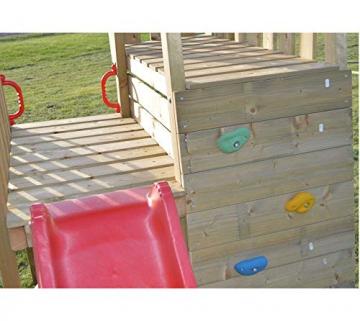 Wendi Toys Spielturm Flamingo Stelzenhaus Kletterturm inkl. Rutsche, Schaukel & Kletterwand - 3