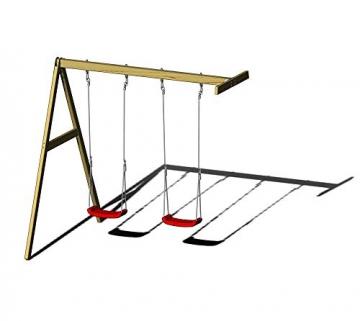 Wendi Toys Spielturm Flamingo Stelzenhaus Kletterturm inkl. Rutsche, Schaukel & Kletterwand - 5