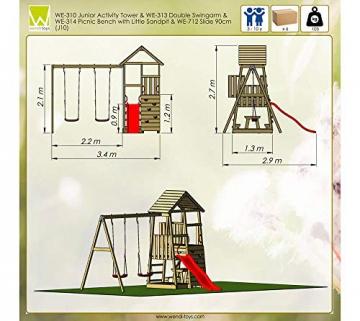 Wendi Toys Spielturm Flamingo Stelzenhaus Kletterturm inkl. Rutsche, Schaukel & Kletterwand - 7