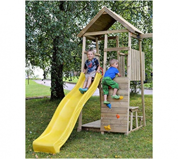 Wendi Toys Spielturm Pelikan Stelzenhaus Kletterturm inkl. Rutsche, Schaukel & Kletterwand - 2