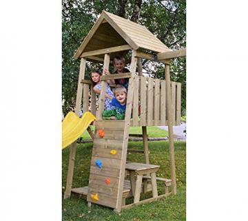 Wendi Toys Spielturm Pelikan Stelzenhaus Kletterturm inkl. Rutsche, Schaukel & Kletterwand - 4