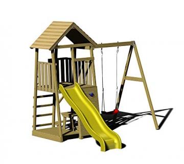 Wendi Toys Spielturm Pelikan Stelzenhaus Kletterturm inkl. Rutsche, Schaukel & Kletterwand - 1