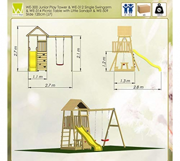 Wendi Toys Spielturm Pelikan Stelzenhaus Kletterturm inkl. Rutsche, Schaukel & Kletterwand - 7