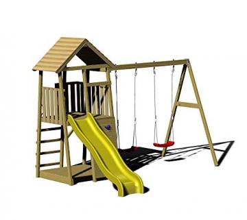 Wendi Toys Spielturm Pinguin inkl. Kletterwand, Doppelschaukel und Rutsche - 1