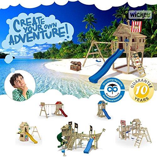 WICKEY FreeFlyer Spielturm Kletterturm mit Rutsche Schaukel Sandkasten + Zubehör-Komplettset (blaue Rutsche / blaue Dachplane) -