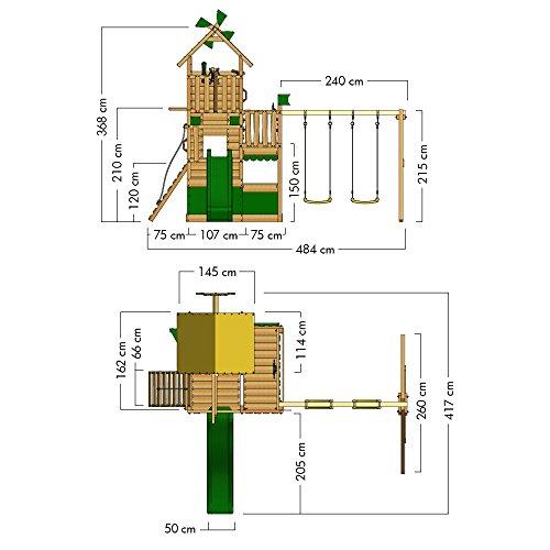 WICKEY Kletterturm Smart Engine Spielturm Klettergerüst auf mehreren Etagen mit Doppelschaukel und Rutsche - 6