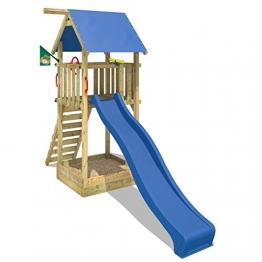 WICKEY Kletterturm Smart Tower Spielturm Holzspielgerät mit Rutsche Sandkasten und Kletterleiter -