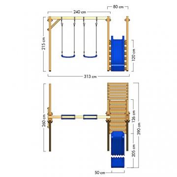 WICKEY Schaukel Schaukelgerüst 'Smart Dash' Schaukelgestell mit blauer Rutsche - Doppelschaukel - 5