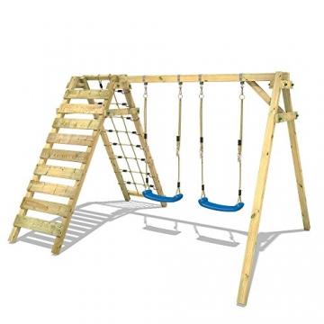 WICKEY Schaukelgerüst Smart Cliff Kinder-Schaukel Holz Schaukelgestell mit Kletteranbau für den Garten - 2