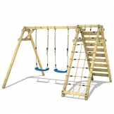 WICKEY Schaukelgerüst Smart Cliff Kinder-Schaukel Holz Schaukelgestell mit Kletteranbau für den Garten - 1