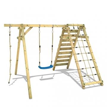 WICKEY Schaukelgerüst Smart Cliff Kinder-Schaukel Holz Schaukelgestell mit Kletteranbau für den Garten - 3