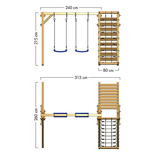 WICKEY Schaukelgerüst Smart Cliff Kinder-Schaukel Holz Schaukelgestell mit Kletteranbau für den Garten - 5