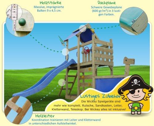 WICKEY Seaflyer Spielturm Rutsche Schaukel Sandkasten (blaue Rutsche / blaue Dachplane) -