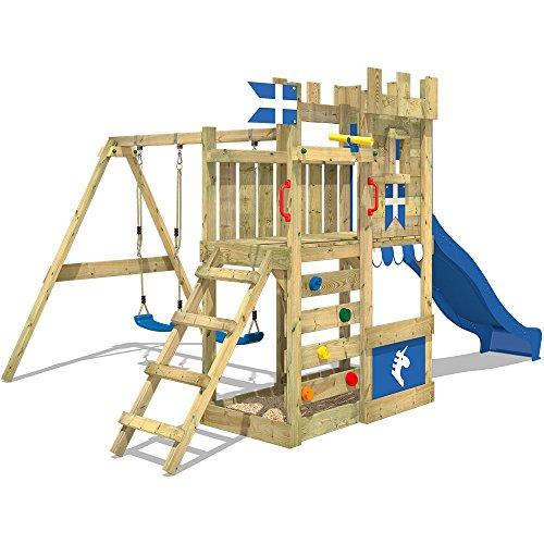 WICKEY Spielburg RoyalFlyer Spielturm Kletterturm Ritterburg mit Schaukel und Rutsche, extrabreitem Sandkasten, Kletterwand und Kletterleiter - 2