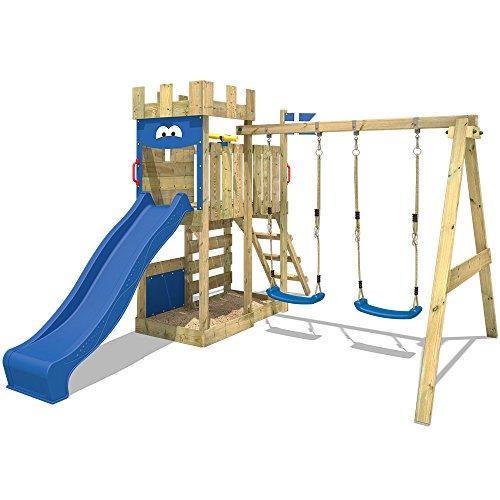 WICKEY Spielburg RoyalFlyer Spielturm Kletterturm Ritterburg mit Schaukel und Rutsche, extrabreitem Sandkasten, Kletterwand und Kletterleiter - 3