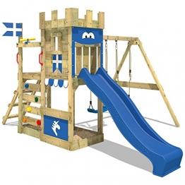 WICKEY Spielburg RoyalFlyer Spielturm Kletterturm Ritterburg mit Schaukel und Rutsche, extrabreitem Sandkasten, Kletterwand und Kletterleiter - 1