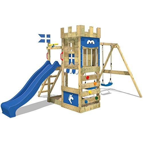 WICKEY Spielburg RoyalFlyer Spielturm Kletterturm Ritterburg mit Schaukel und Rutsche, extrabreitem Sandkasten, Kletterwand und Kletterleiter - 4